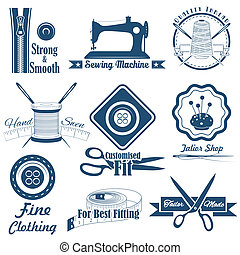 illustration of vintage style sewing and tailor label
