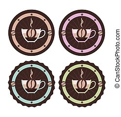 Vintage style simple vector coffee icons