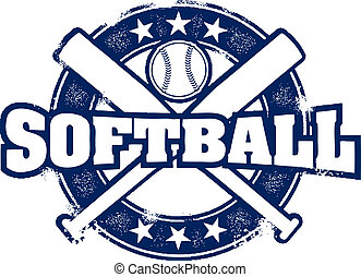 Vintage Style Softball Sport Stamp