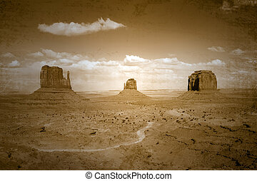 Vintage Style Stained Image of Monument Valley Landscape