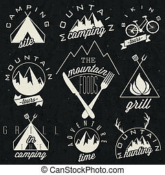 Retro vintage style symbols for Mountain Expedition: Adventure, Mountain Camping, Mountain Hunting, Mountain Tour, Mountain Foods, Camping site, Camping Grill, Biking Tours. Mountain feeling. Vector.