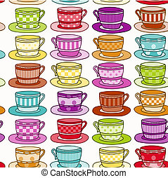 Vintage style Teacup Background - Rainbow Colored Vintage...