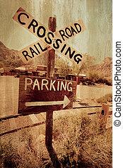 Vintage style train crossing