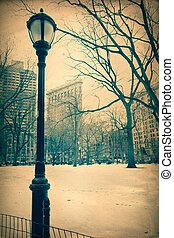 Flatiron Building - Vintage style View of historic Flatiron ...