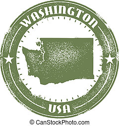 Washington State Stamp - Vintage style Washington State...