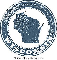Vintage Style Wisconsin Stamp - Wisconsin state stamp in...