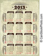 Vintage styled 2013 calendar with ribbons on aged paper