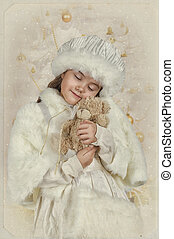 Vintage styled photo of a girl hugging her toy