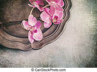 Vintage styled still life with orchids