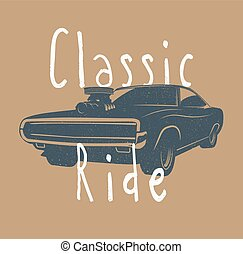 Vintage styled vector illustration of the classic american muscle car.