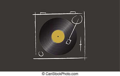 Vintage stylized illustration of turntable and vinyl disco