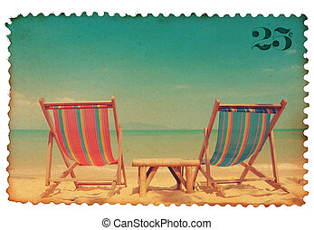 Vintage stylized postage stamp with two beach chairs on...