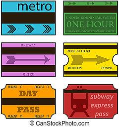 Vintage subway tickets