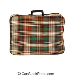 Vintage suit case isolated on white background