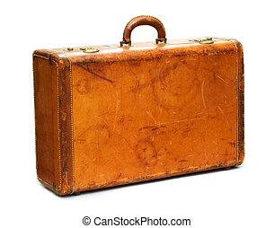 Well-traveled vintage suitcase isolated on white