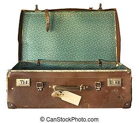 Vintage Suitcase, Open - Vintage brown leather suitcase,...