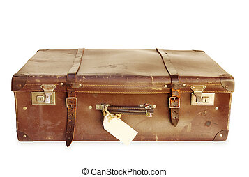 Vintage Suitcase - Vintage brown leather suitcase, well...