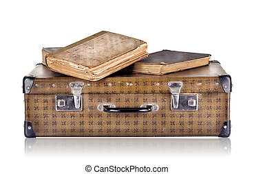 Vintage suitcase with books