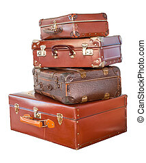 Vintage suitcases - Vintage weathered leather suitcases on...