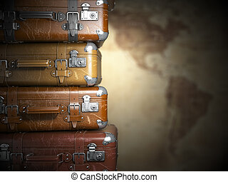 Vintage suitcases on the map of America background.