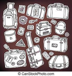 Vintage suitcases set. Travel Vector illustration.