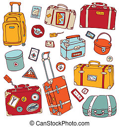 Vintage suitcases set. Travel Vector illustration. - Vector...