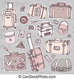 Vintage suitcases set. Travel Vector illustration. - Vector...