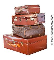 Vintage suitcases - Vintage weathered leather suitcases on ...