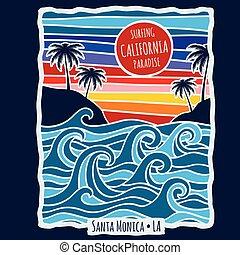Vintage summer california surfing t shirt print design vector illustration
