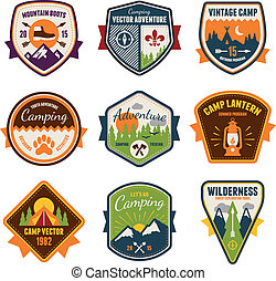 Vintage summer camp and outdoor badges