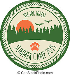 Vintage summer camp sticker badge emblem