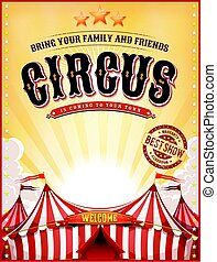 Vintage Summer Circus Poster With Big Top - Illustration of...