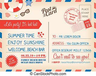 Vintage summer holiday postcard background template for...