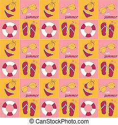 vintage summer pink bikini, pink slippers, loop, and retro sunglasses icon pattern seamless background