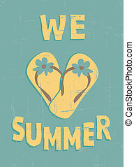 Vintage Summer Poster - Grungy summer poster. Summer...