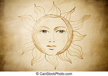 vintage sun - all drawing made by me, special toned with...