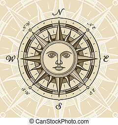 Vintage sun compass rose in woodcut style. Vector...