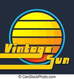 Vintage sun with yellow-orange stripes. Retro 1980s background design