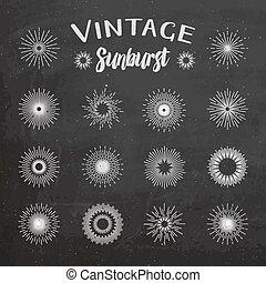 Vintage sunburst on chalkboard background. Hipster style....