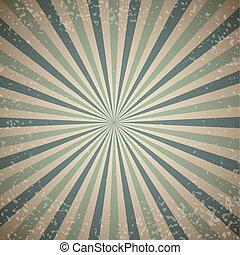 Vintage sunburst vector background with blue rays.