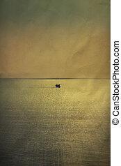 Vintage sunrise over sea and blue sky on paper background