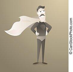 Vintage super hero in uniform with antique cape