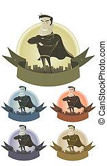 Vintage Superhero Security Banner - Illustration of a set of...