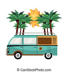 Vintage surf van in the beach cartoon