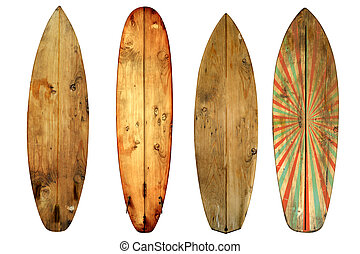vintage surfboards - Vintage surfboard isolated on white -...