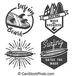Vintage surfing emblems