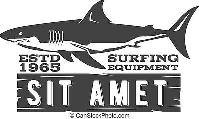 Vintage Surfing Store Badge design. Surf gear shop Emblem for web design or print. Retro shark logo design. Surf equipment Label. Surfer stamp. Summer insignia. Vector black hipster symbol