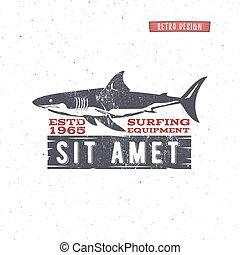 Vintage Surfing Store Badge design. Surf gear shop Emblem for web design or print. Retro shark logo design. Surf equipment Label. Surfer stamp. Summer insignia. Vector hipster surfboarding symbol