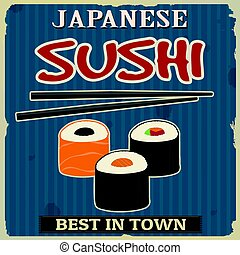 Vintage sushi poster design