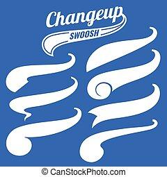 Vintage swash baseball logo tails vector set. Design element...